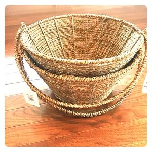 Two Pottery Barn Small Gold Rope Easter Baskets